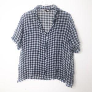 Flax | Linen Checkered Short Sleeve Button Down L